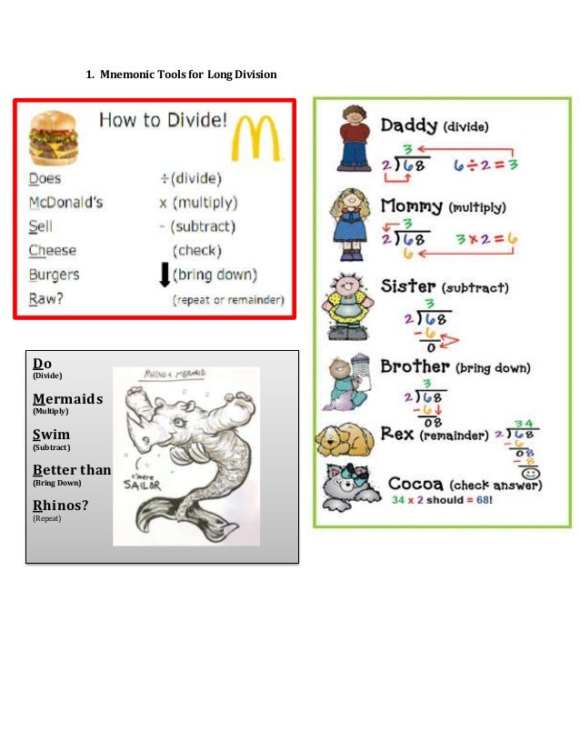 1. Mnemonic Tools for Long Division Do (Divide) Mermaids (Multiply) Swim (Subtract) Better than (Bring Down) Rhinos? (Repe...
