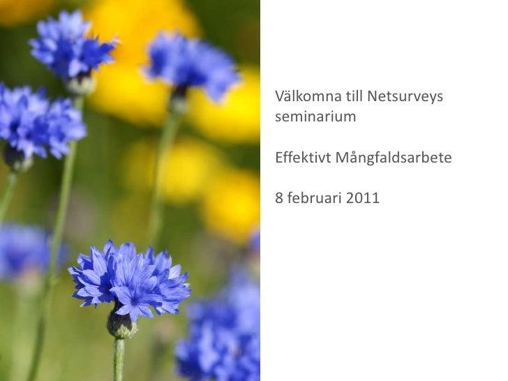 Välkomna till Netsurveys seminarium<br />Effektivt Mångfaldsarbete<br />8 februari 2011<br />