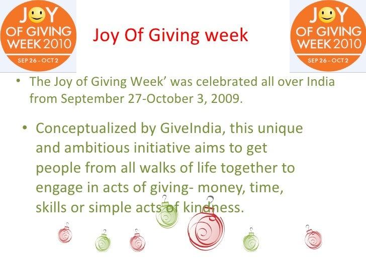 Joy In Giving: Joy Of Giving Week