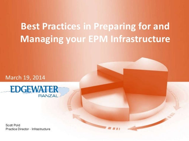 Scott Pold Practice Director - Infrastructure Best Practices in Preparing for and Managing your EPM Infrastructure March 1...