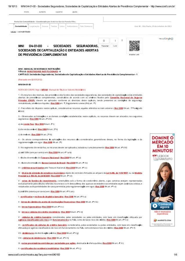 19/10/13 MNI 04-01-00 - Sociedades Seguradoras, Sociedades de Capitalização e Entidades Abertas de Previdência Complementa...