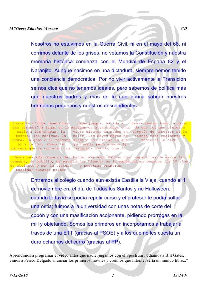 MªNieves Sánchez Moreno                                                                        3ºD            Nosotros no ...