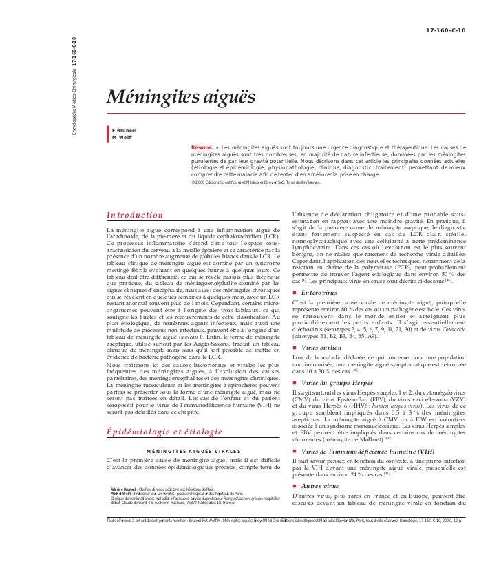 17-160-C-10Encyclopédie Médico-Chirurgicale 17-160-C-10                                               Méningites aiguës   ...