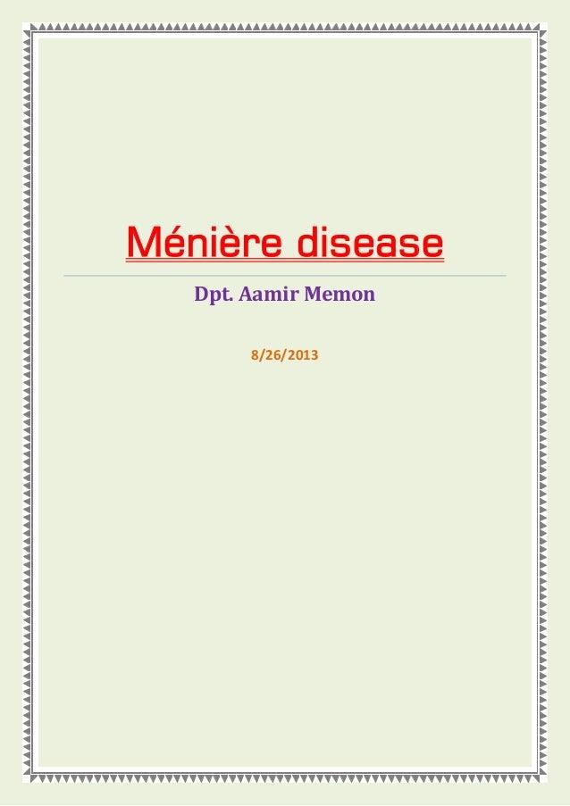 Ménière disease Dpt. Aamir Memon 8/26/2013