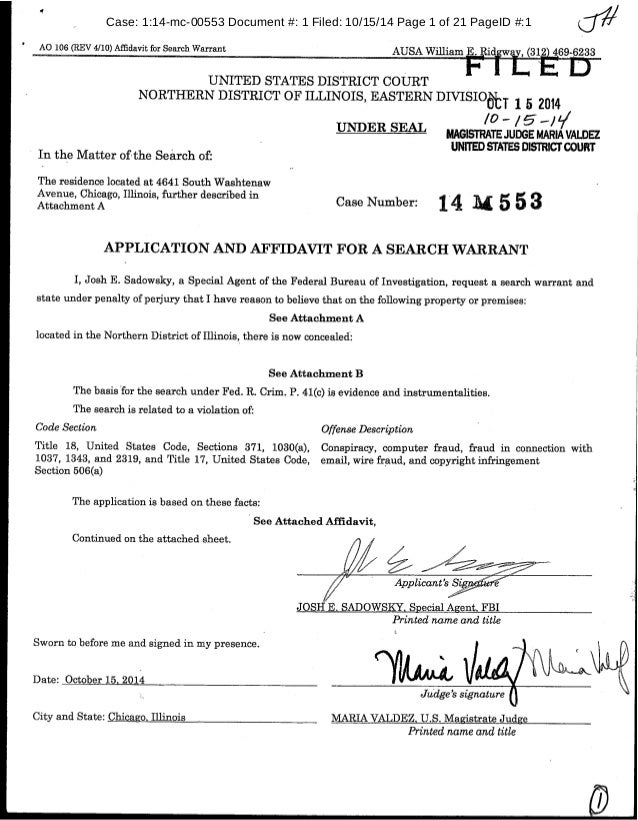 A And For Application Affidavit Warrant Search