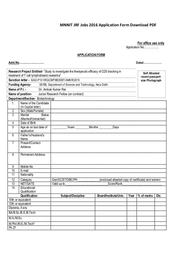 Attractive MNNIT JRF Jobs 2016 Application Form Download PDF For Office Use Only  Application Nou2026 Pictures