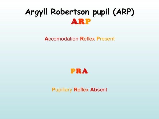 Argyll Robertson pupil (ARP) ARP Accomodation Reflex Present PRA Pupillary Reflex Absent