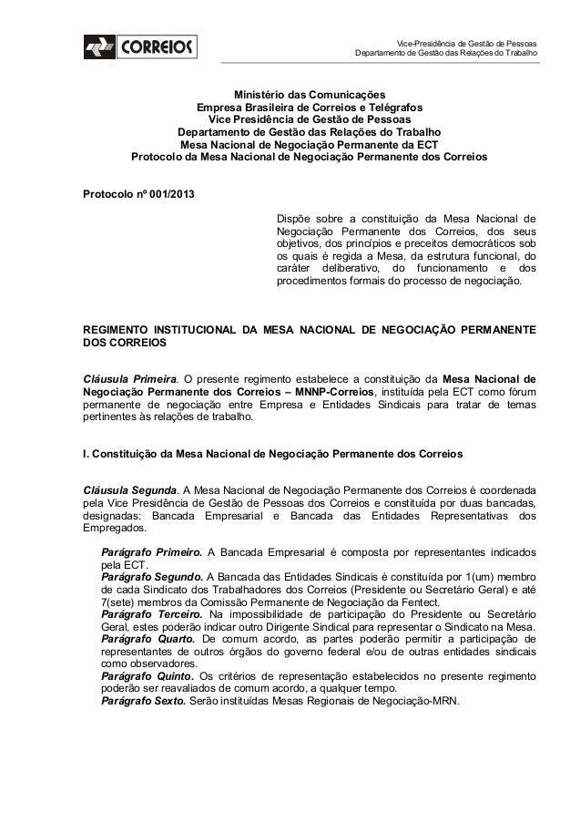 Vice-Presidência de Gestão de Pessoas Departamento de Gestão das Relações do Trabalho  Ministério das Comunicações Empresa...