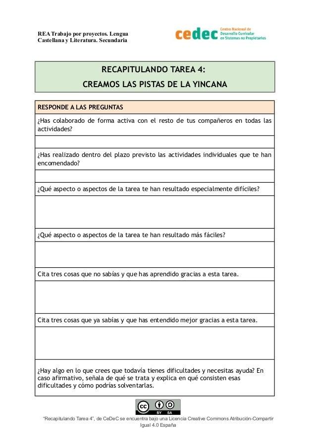 REA Trabajo por proyectos. Lengua Castellana y Literatura. Secundaria RECAPITULANDO TAREA 4: CREAMOS LAS PISTAS DE LA YINC...
