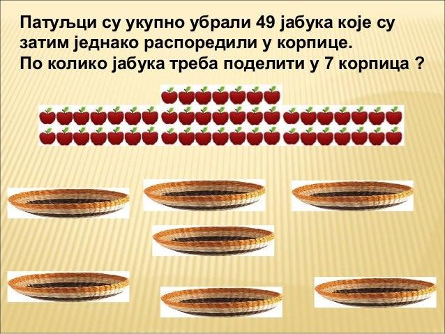 Патуљци су укупно убрали 49 јабука које сузатим једнако распоредили у корпице.По колико јабука треба поделити у 7 корпица ?