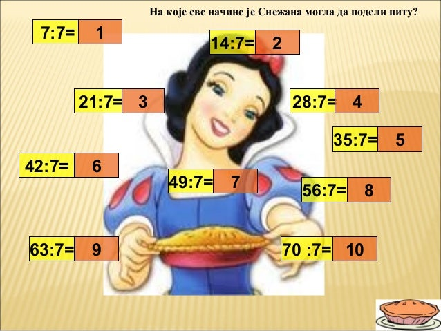 7:7=14:7=21:7= 28:7=35:7=42:7=49:7=56:7=63:7= 70 :7=19873245610На које све начине је Снежана могла да подели питу?