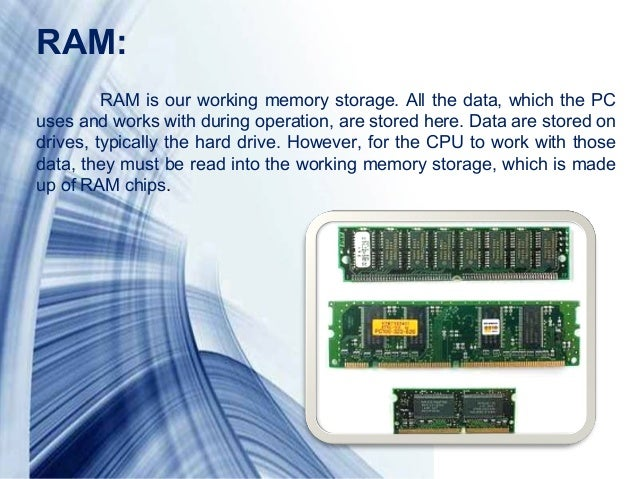 Page 7RAM:RAM is our working memory storage. All the data, which the PCuses and works with during operation, are stored he...