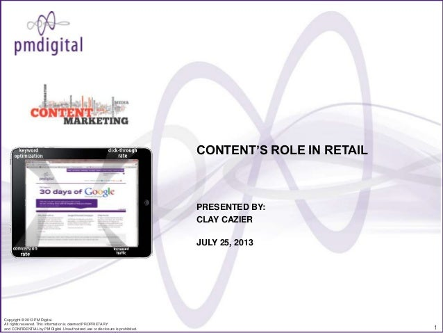 CONTENT'S ROLE IN RETAIL  PRESENTED BY: CLAY CAZIER JULY 25, 2013  Copyright © 2013 PM Digital. All rights reserved. This ...