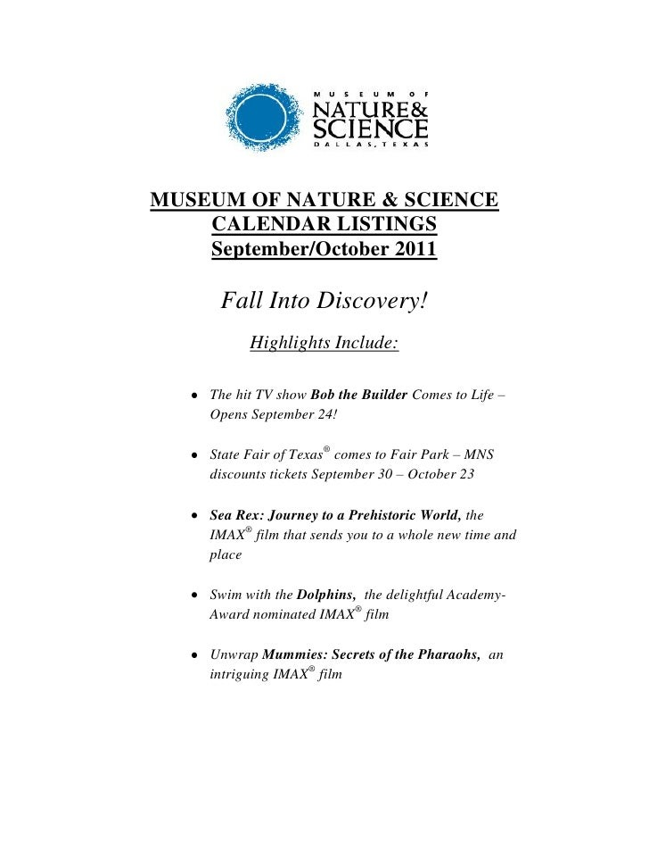 MUSEUM OF NATURE & SCIENCE    CALENDAR LISTINGS    September/October 2011     Fall Into Discovery!          Highlights Inc...