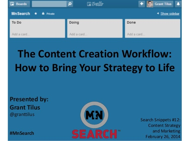 The Content Creation Workflow: How to Bring Your Strategy to Life Presented by: Grant Tilus @granttilus  #MnSearch  Search...