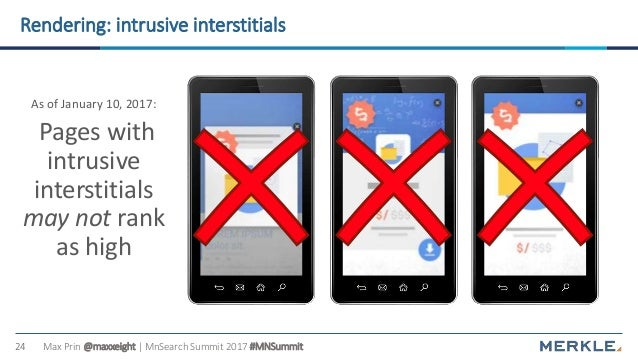 Max Prin @maxxeight | MnSearch Summit 2017 #MNSummit24 Rendering: intrusive interstitials As of January 10, 2017: Pages wi...