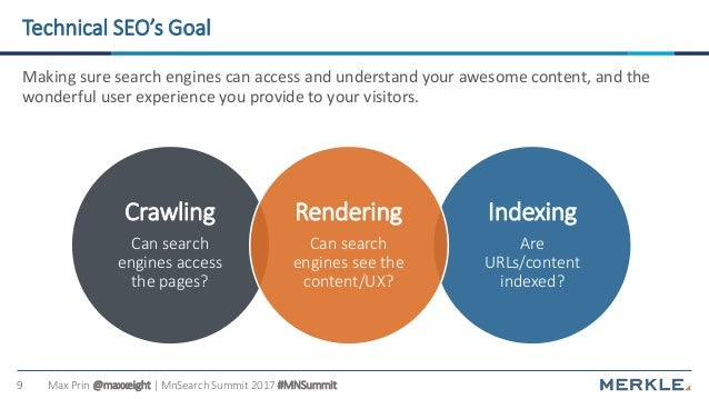 Max Prin @maxxeight | MnSearch Summit 2017 #MNSummit9 Technical SEO's Goal Making sure search engines can access and under...