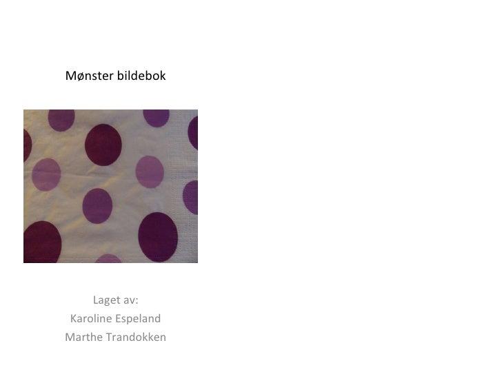 Mønster bildebok Laget av: Karoline Espeland Marthe Trandokken