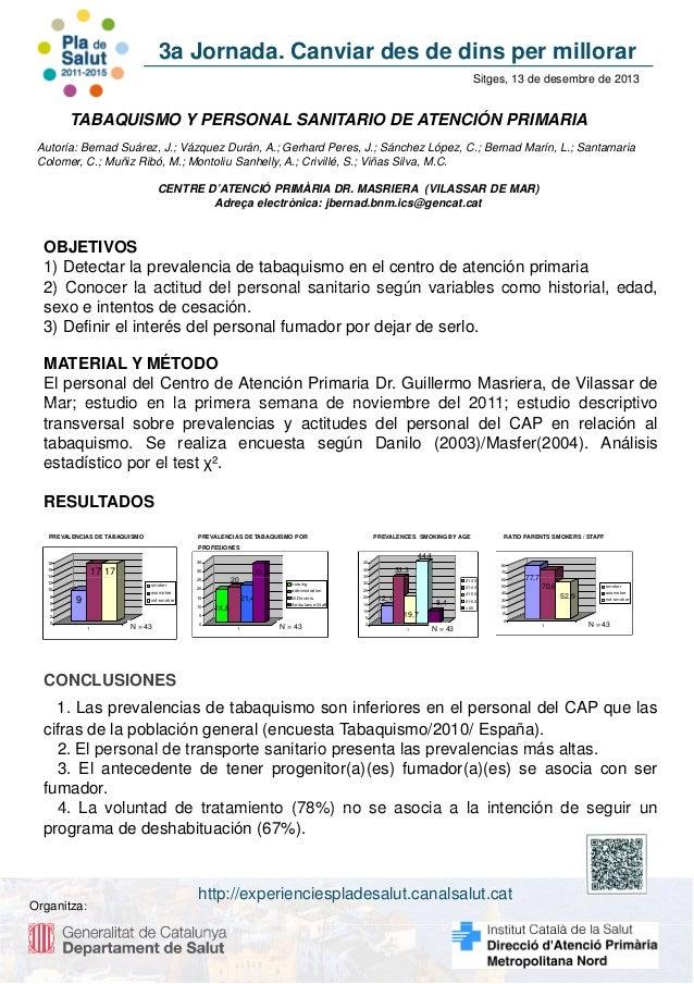 3a Jornada. Canviar des de dins per millorar Sitges, 13 de desembre de 2013  TABAQUISMO Y PERSONAL SANITARIO DE ATENCIÓN P...