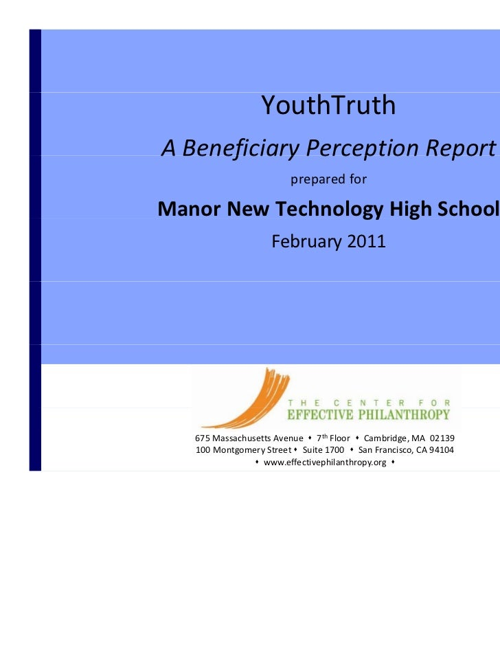 CONFIDENTIAL                      YouthTruth    A Beneficiary Perception Report    A Beneficiary Perception Report        ...