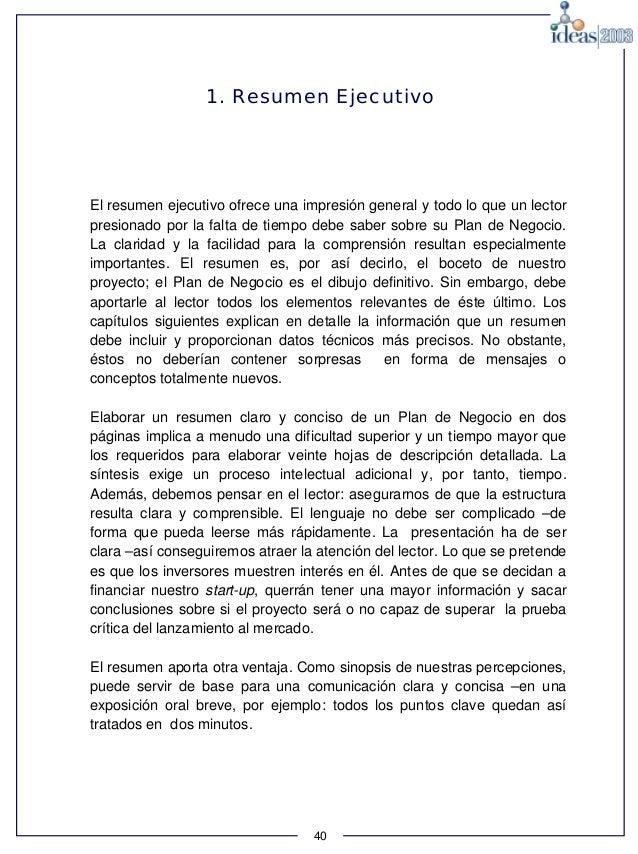 Berühmt Resumn Sobre Idee De Negocio Galerie - Dokumentationsvorlage ...