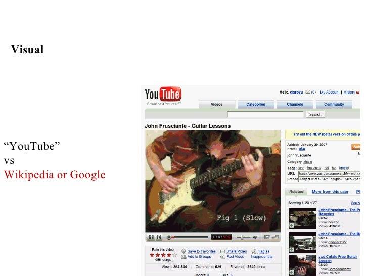 "Visual     ""YouTube"" vs Wikipedia or Google"
