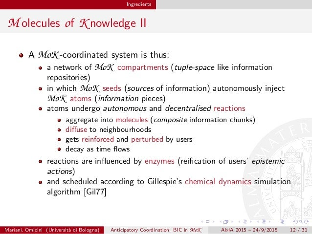Ingredients M olecules of K nowledge II A MoK -coordinated system is thus: a network of MoK compartments (tuple-space like...