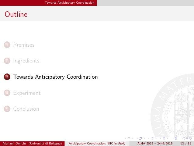 Towards Anticipatory Coordination Outline 1 Premises 2 Ingredients 3 Towards Anticipatory Coordination 4 Experiment 5 Conc...