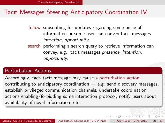 Towards Anticipatory Coordination Tacit Messages Steering Anticipatory Coordination IV follow subscribing for updates rega...