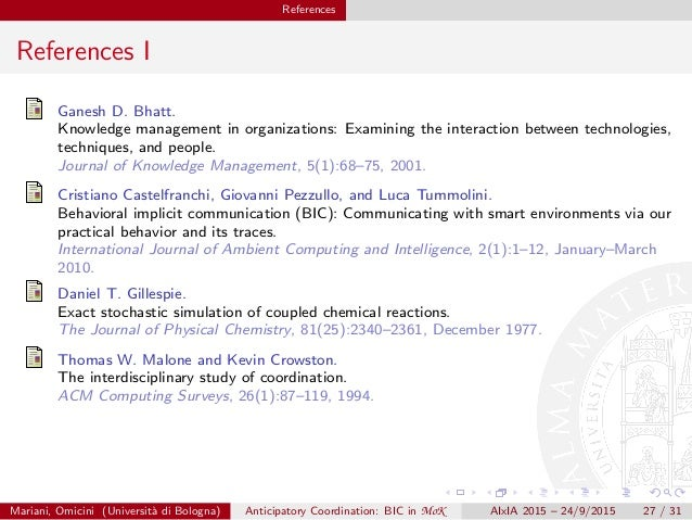 References References I Ganesh D. Bhatt. Knowledge management in organizations: Examining the interaction between technolo...