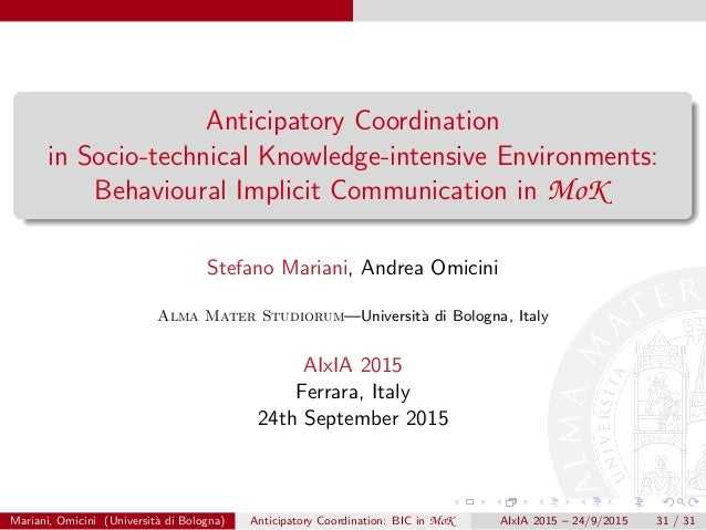 Anticipatory Coordination in Socio-technical Knowledge-intensive Environments: Behavioural Implicit Communication in MoK S...