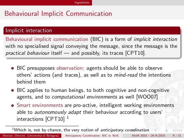 Ingredients Behavioural Implicit Communication Implicit interaction Behavioural implicit communication (BIC) is a form of ...