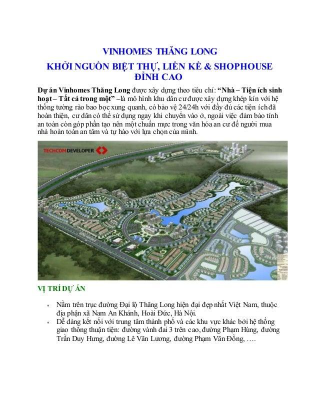 VINHOMES THĂNG LONG KHỞI NGUỒN BIỆT THỰ, LIỀN KỀ & SHOPHOUSE ĐỈNH CAO Dự án Vinhomes Thăng Long được xây dựng theo tiêu ch...