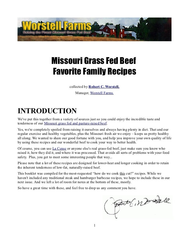 Missouri Grass Fed Beef                       Favorite Family Recipes                                    collected by Robe...