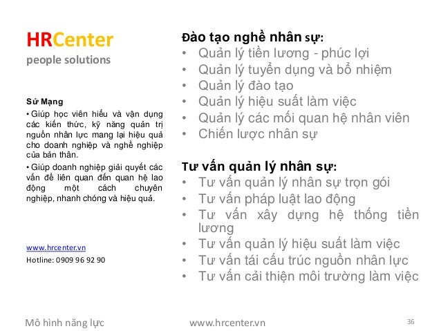 HRCenter                             Đào tạo nghề nhân sự:people solutions                                     • Quản lý t...