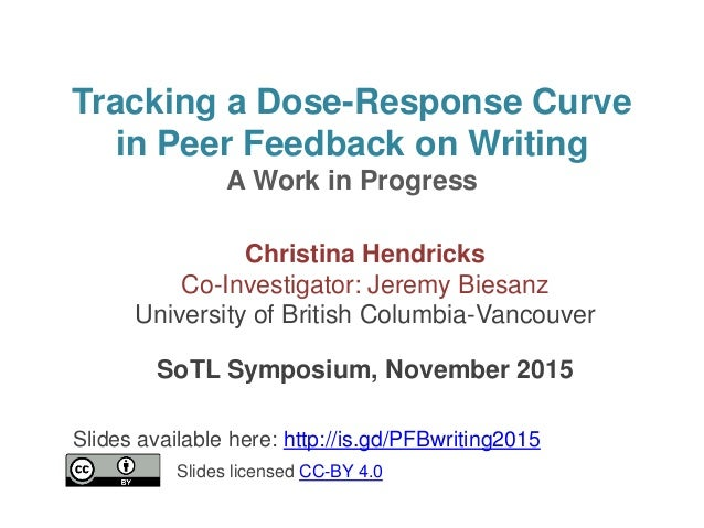 Tracking a Dose-Response Curve in Peer Feedback on Writing A Work in Progress Christina Hendricks Co-Investigator: Jeremy ...