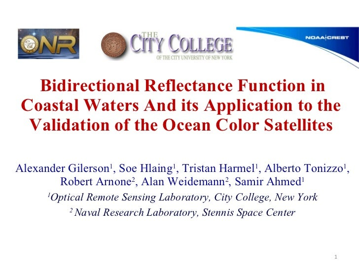 Bidirectional Reflectance Function in Coastal Waters And its Application to the Validation of the Ocean Color Satellites A...