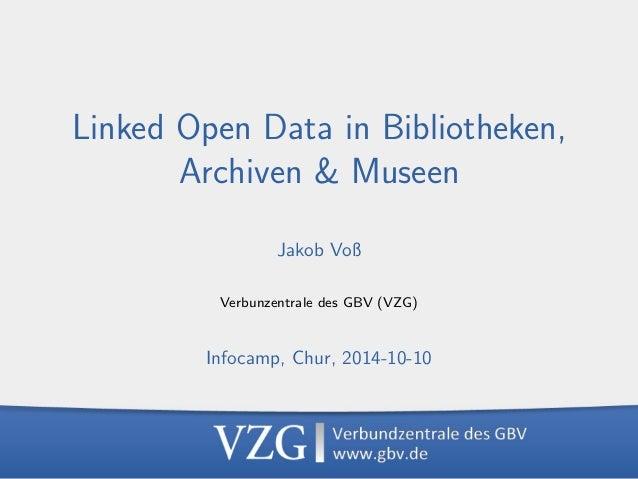 LOD in Bibliotheken, Archiven & Museen, 2014-10-10  1  Linked Open Data in Bibliotheken,  Archiven & Museen  Jakob Vo  Ver...