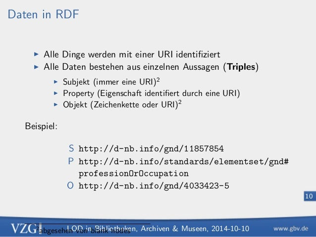 LOD in Bibliotheken, Archiven  Museen, 2014-10-10  7  Linked Open Data  1. Data  Daten in RDF  HTTP-URIs als Identi