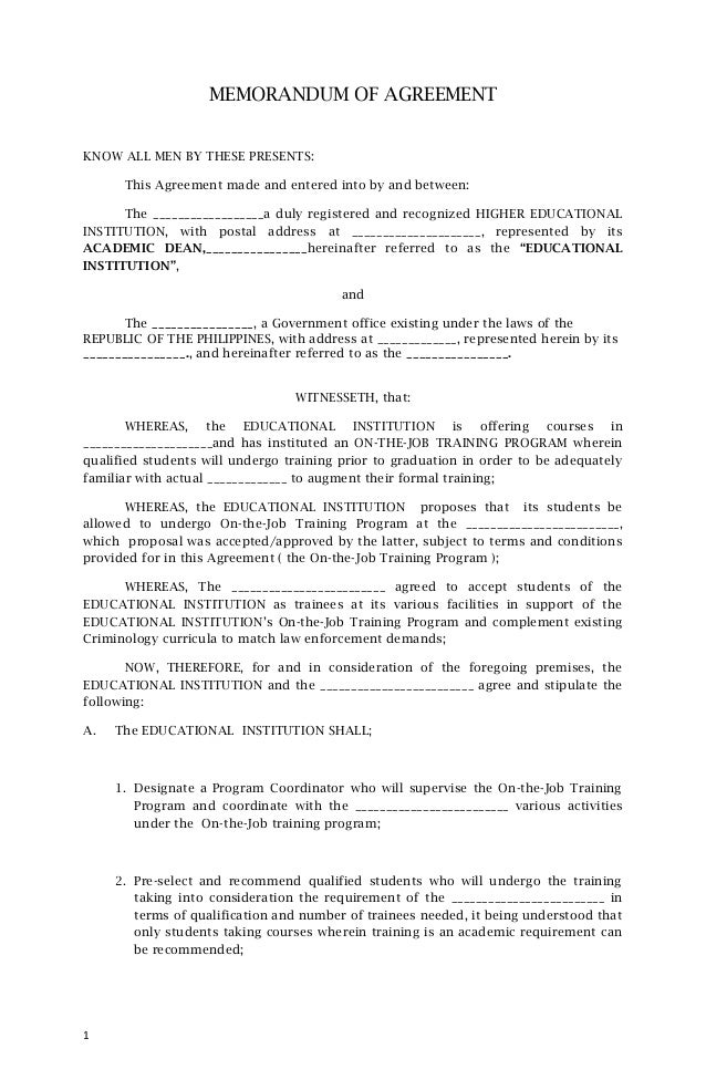 MEMORANDUM OF AGREEMENTKNOW ALL MEN BY THESE PRESENTS:      This Agreement made and entered into by and between:      The ...