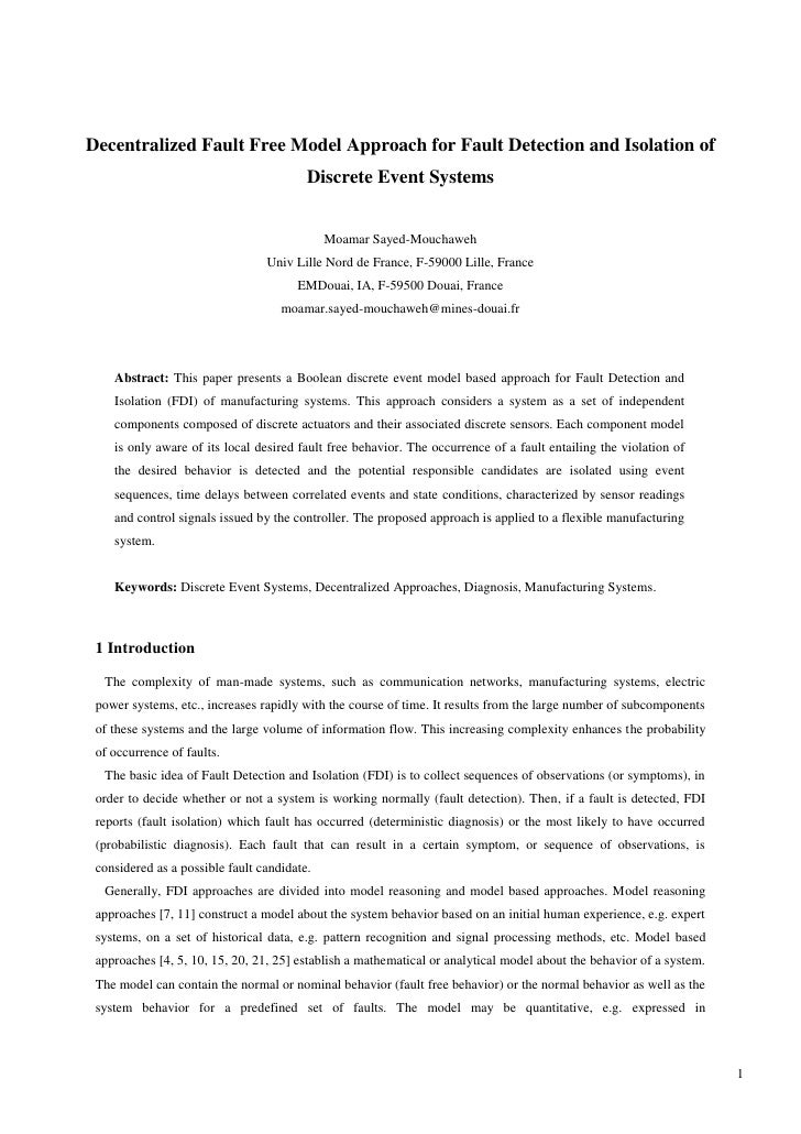 Decentralized Fault Free Model Approach for Fault Detection and Isolation of                                         Discr...
