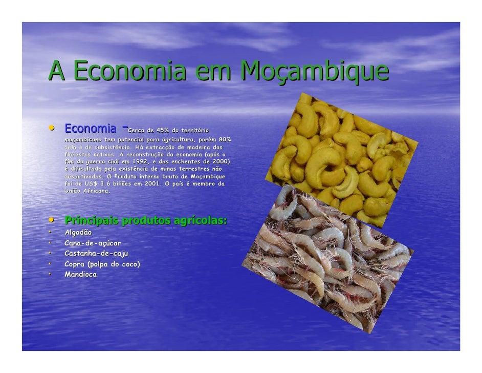 A Economia em Moçambique • Economia -Cerca de 45% do território                             territó     moçambicano tem po...