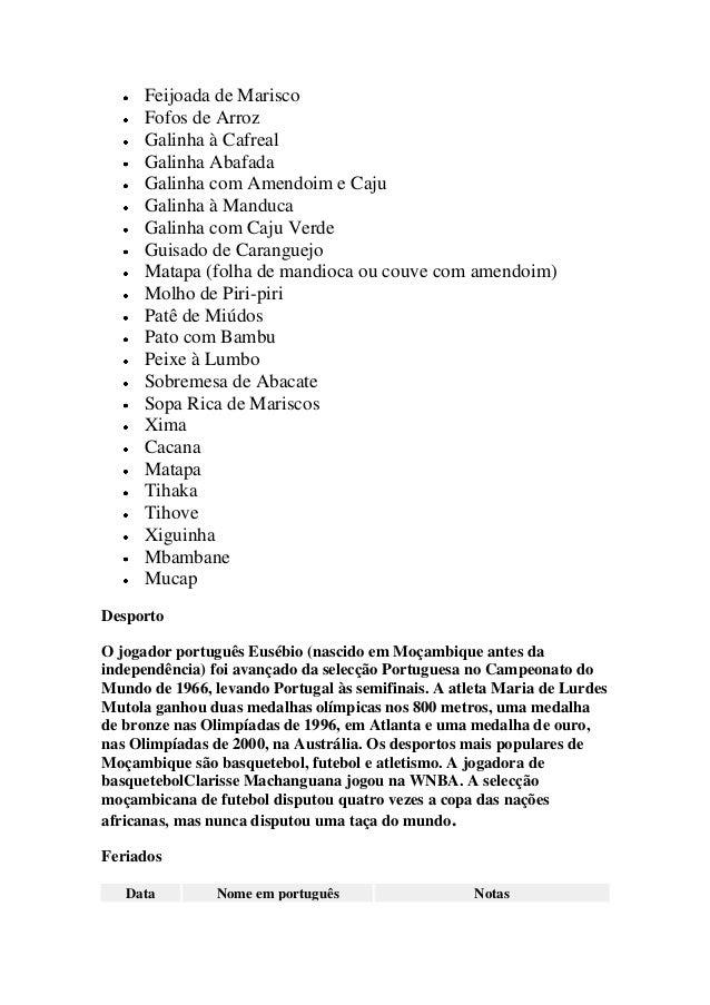 Feijoada de Marisco Fofos de Arroz Galinha à Cafreal Galinha Abafada Galinha com Amendoim e Caju Galinha à Manduca Galinha...