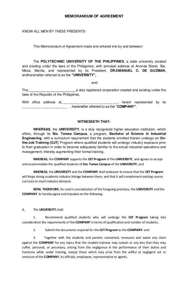 Moa template2013 long – Sample Memorandum of Agreement