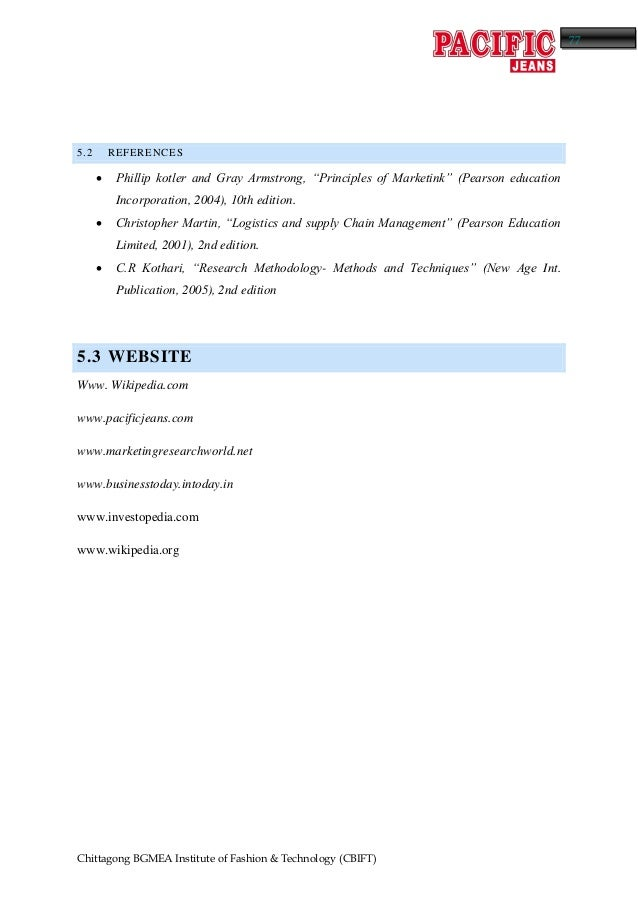Internship report on pacific Jeans ltd