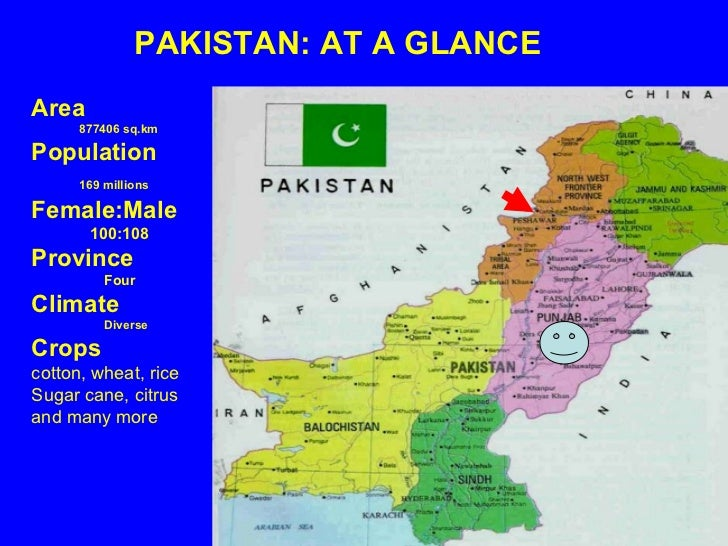 PAKISTAN: AT A GLANCE Area 877406 sq.km Population 169 millions   Female:Male  100:108 Province Four Climate Diverse Crops...