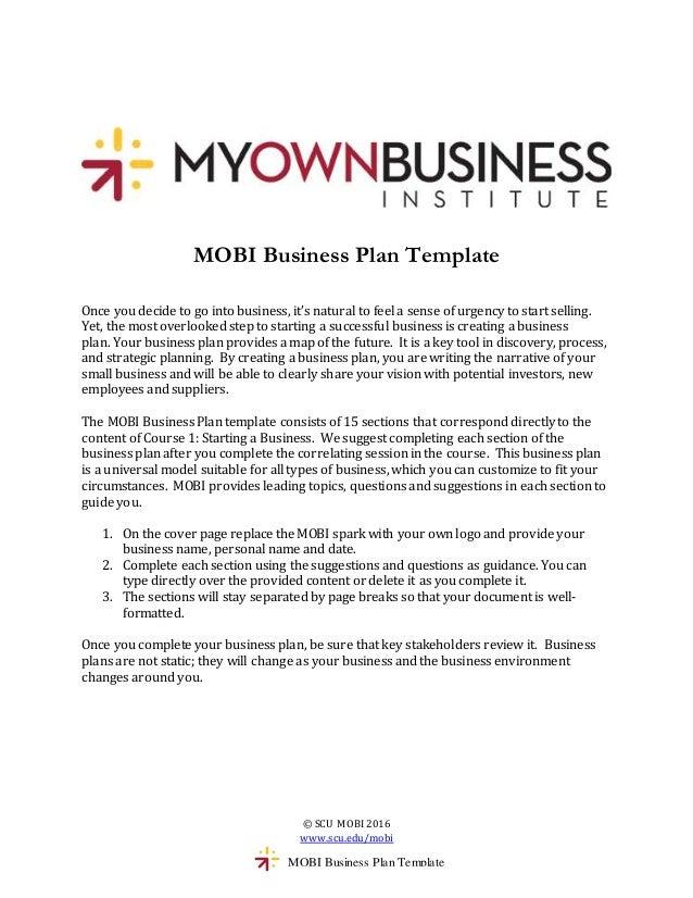 Mobi Business Plan Template
