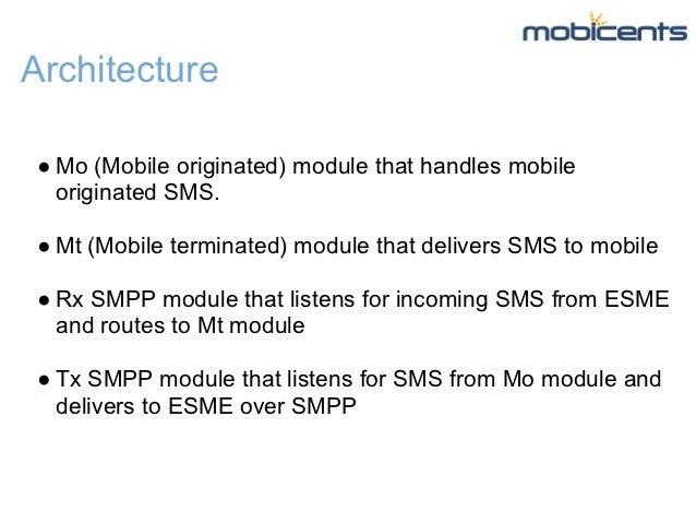 Architecture● Mo (Mobile originated) module that handles mobile  originated SMS.● Mt (Mobile terminated) module that deliv...