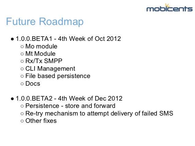 Future Roadmap● 1.0.0.BETA1 - 4th Week of Oct 2012    ○ Mo module    ○ Mt Module    ○ Rx/Tx SMPP    ○ CLI Management    ○ ...