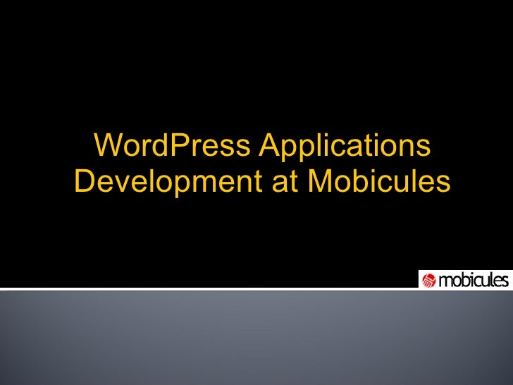 WordPress Applications Development at Mobicules